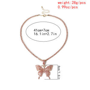N-7351 3 Color Bright Full Rhinestone Butterfly-shaped Pendant Necklace Fashion Charm Jewelry for Women
