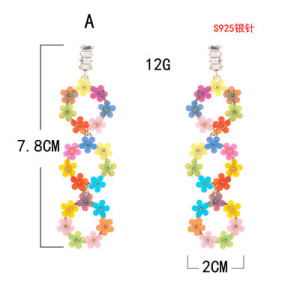 E-5705 2 Styles Of Small Floral Rhinestone Star Mid-Length Ladies Earrings 925 Silver Earring
