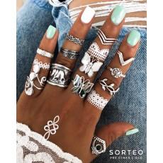 R-1527 2 Styles Bohemian Butterfly Elephant Flower Shape Vintage Silver Midi Finger Rings Set Women Jewelry Gift