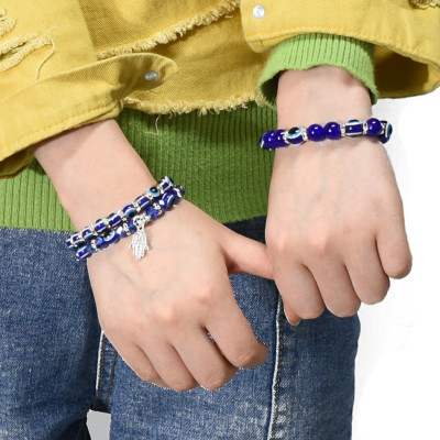 B-1020 Eye Style Beaded with Lucky Hand Pendant Charms Bracelet for Women Vacation Jewelry