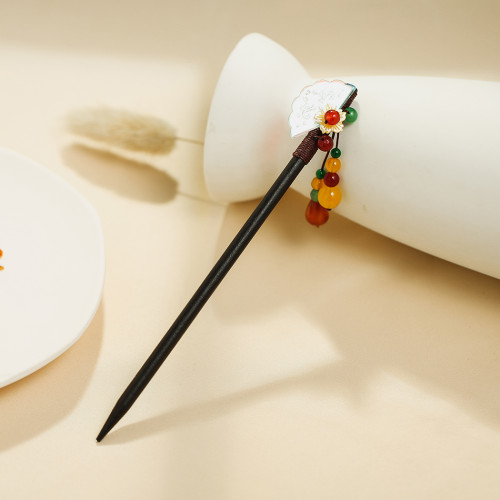 F-0749 Two Retro-style Fan Butterfly Wooden Hairpin Female Gift Hair Accessories with Colorful Beads