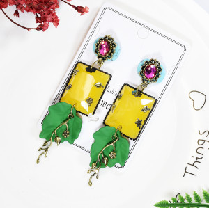 E-5709 2 Styles Summer Fruit Pineapple-shaped with Crystal Acrylic Drop Dangle Earrings for Women and Girls