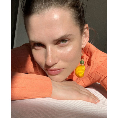 E-5710 Handmade Bohemian Style Yellow Blue Conch Shell Drop Earrings for Women Summer Beach Party Jewelry