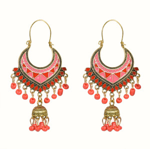 E-5712 Gold bell multicolor beads retro tassel earrings female ethnic style tassel hollow earrings gypsy jewelry.