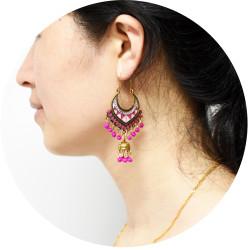 E-5712 Gold bell multicolor beads retro tassel earrings female ethnic style tassel hollow earrings gypsy jewelry.