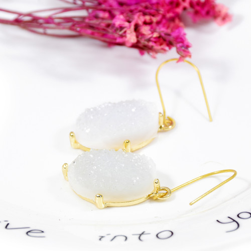 E-5711 Fashion white stone crystal hoop earrings Spring Summer Jewelry