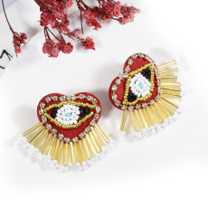 E-5714 2 Styles Fashion Beaded And Diamond Colorful Tassel Earrings