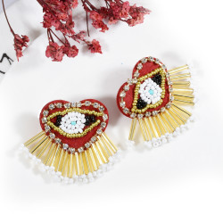 E-5714 2 Styles Fashion Beaded And Diamond Colorful Tassel Earrings