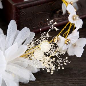 F-0751 Korean handmade silk yarn hair band white hay starry hair hoop headdress bridal dress accessories bridal jewelry