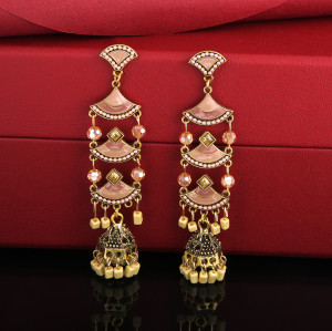 E-5719 Vintage beaded tassel earrings female ethnic style gold bells multicolor beaded tassel hollow earrings gypsy jewelry.