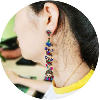 E-5719 Vintage beaded tassel earrings female ethnic style gold bells multicolor beaded tassel hollow earrings gypsy jewelry.