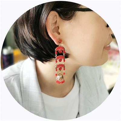 E-5718 Indian Rainbow Shape Acrylic Drilling Long Earring for Woman Tassel Earring