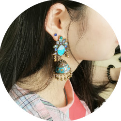 E-5717 Bohemian Style Colorful Crystal Earrings Ladies Sub-bell Pendant Earrings Colorful Gold Earrings Accessories