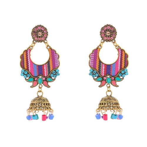 E-5716 Indian Style Bells Drop Dangle Jhumka Earrings Women's Classic Vintage Turkey Gold Tassel Earrings