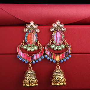 E-5722 Indian Bells Tassel Drop Dangle  Earrings