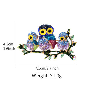P-0344  Owl Pin Brooch Colorful Enamel Rhinestone Animal Brooch