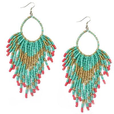 E-5723 Bohemian Long Rice Beads Tassel Earrings for Woman