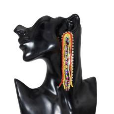 E-5724 Bohemian Big Rhinestone Resin Beads Long Tassel Drop Earrings for Women Statement Party Jewelry