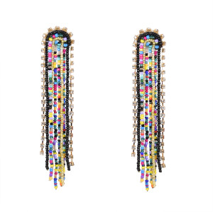 E-5724 Bohemian Big Rhinestone Resin Beads Long Tassel Drop Earrings for Women Statement Party Jewelry
