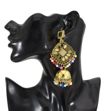 E-5725 Bohemian Style Gold and Silver Colorful Pearl Tassel Mirror Bell Earrings Women Accessories
