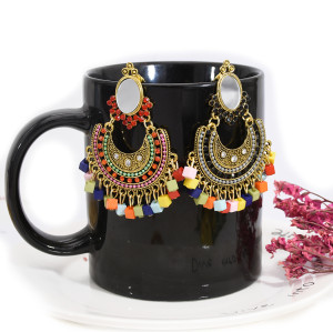 E-5727 Boho Style with Mirror Rhinestone Colorful Acrylic Beads Tassel Drop Dangle Earrings for Women