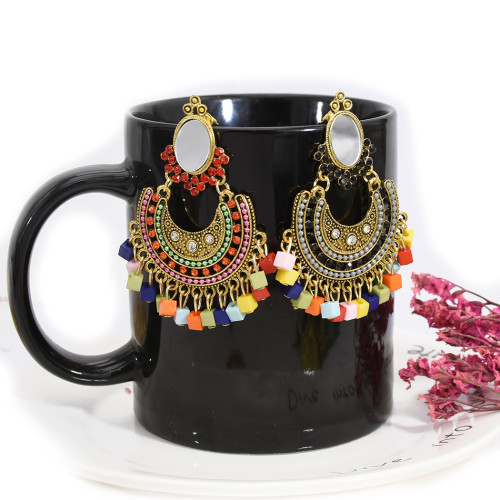 E-5727 Boho Style with Mirror Rhinestone Colorful Acrylic Beads Tassel Drop Dangle Earrings for Women