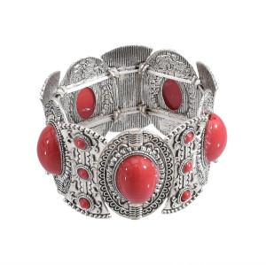 B-0497 Fashion Vintage Silver Carving Flower Turquoise Gem Stone Ethnic Boho Statement Elastic Bracelet
