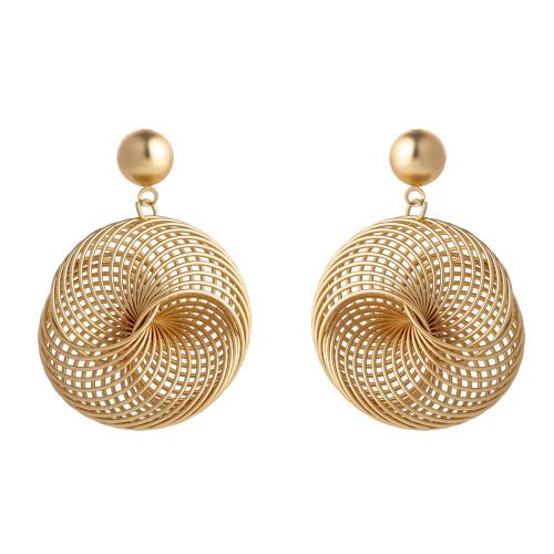 E-5731 3 Style Dumb Gold Spiral Geometry-shaped Hoop Stud Earrings Statement Drop Dangle Earrings for Women