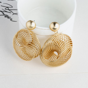 E-5731 3 Style Dumb Gold Spiral Geometry-shaped Hoop Stud Earrings Statement Drop Dangle Earrings for Women