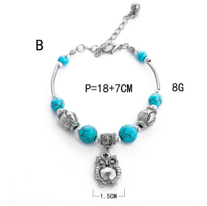 B-1023 Bright Silver Vintage Turquoise Pendant Adjustable Bracelet Women Gift Jewelry Accessories