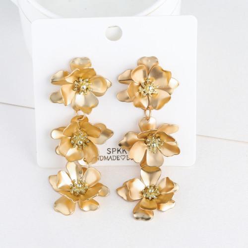 E-5732 Fashion Golden Leaf Flower Earrings For Woman