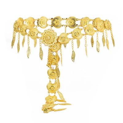 N-7352 Indian Golden Love Tassel Dance Waist Chain for Woman Body Chain