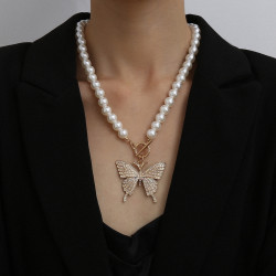 N-7353 Elegant Pearl Beads Chain Rhinestone Butterfly Pendant Necklaces for Women Bridal Summer Jewelry