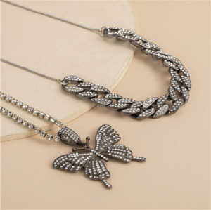 N-7356 Fashion Rhinestone Multi-Layer Butterfly Pendant Thick Necklace