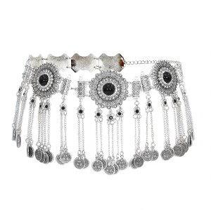N-7357 Bohemian rhinestone alloy waist chain ladies accessories coin pendant fashion waist chain