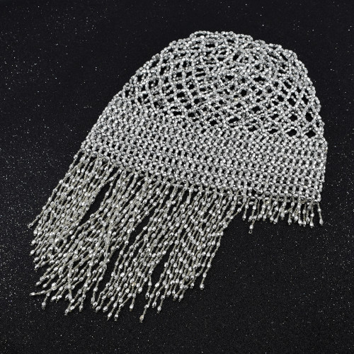 F-0760 2 Style Beaded with Imitation Pearl Tassel Head Cap Hat Headpiece Wedding Hair Jewelry Accessories