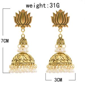 E-5738 Indian Golden Beads Bell Tassel Earrings