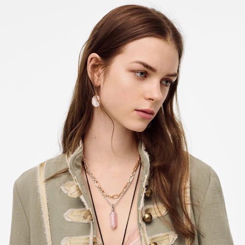 N-7359 Multilayers Silver Gold Chain Geometric Natural Stone Pendant Necklaces for Women Party Jewelry