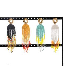 E-5742 Bohemian Alloy Resin Beads Long Tassel Drop Earrings for Women Statement Party Jewelry