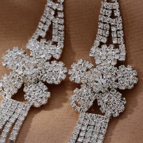 E-5741 Fashion with Bright Full Rhinestone Tassel Flower-Shaped Drop Dangle Earrings for Women Gift