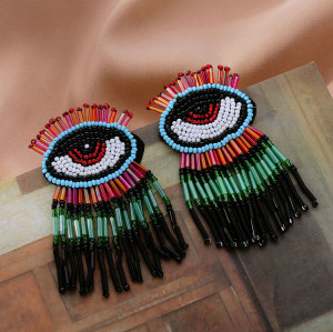 E-5740 2 styles of fashion glazed beaded colorful tassel earrings eyes rice bead earrings