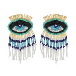 E-5740 2 styles of fashion glazed beaded colorful tassel earrings eyes rice bead earrings