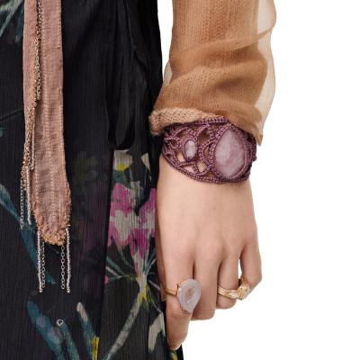 B-1027 Bohemian Cotton Rope Woven Mesh Inlaid Resin Wide Bracelet