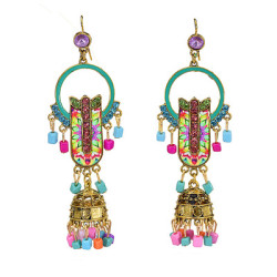 E-5745 Indian Pattern Beads Tassele Dangle Earring for Woman Nation Jewelry