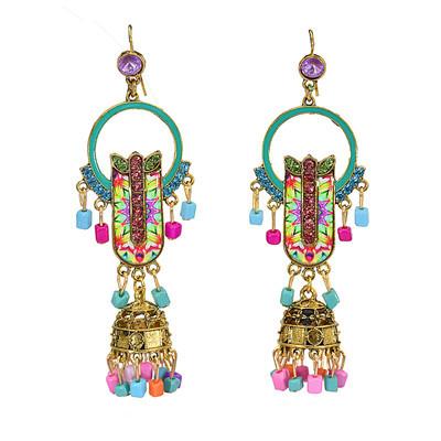 E-5745 Indian Pattern Beads Tassele Dangle Earring for Woman Nation Jewelry