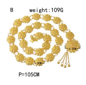 N-7361 Boho Gold Silver Metal Carved Flower Tassel Belly Dance Waist Chain Women Body Jewelry