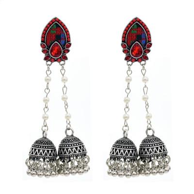 E-5750 Indian Jhumki Jhumka Earrings with Beads Tassel Dangle Earrings for Woman Charm Jewelry