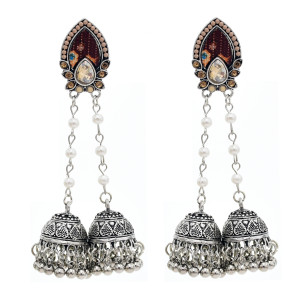 E-5750 Indian Jhumki Jhumka Earrings with Beads Tassel Dangle Earrings for Woman Charm Jewelry