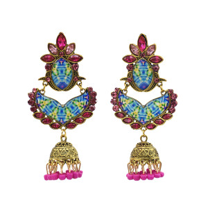 E-5751 Indian Rhinestone Beads Tassele Drop Dangle Earrings for Woman