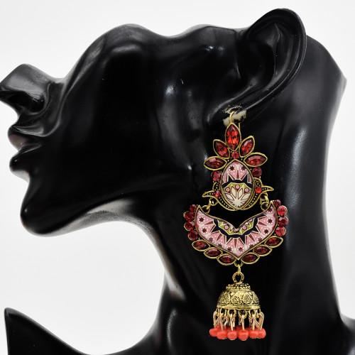 E-5751 Indian Rhinestone Beads Tassele Drop Dangle Earrings for Woman